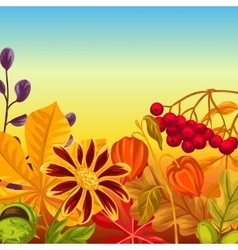 Background with autumn leaves and plants design vector