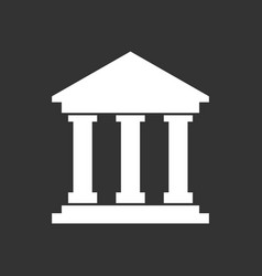 Bank building icon in flat style museum on black vector