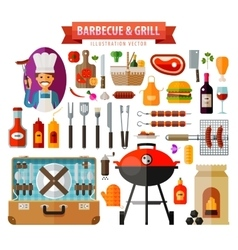 Barbecue and grill set of elements - food meat vector