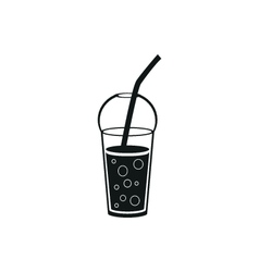 Black cup template for soda or cold beverage vector