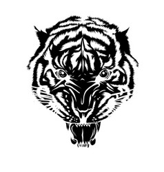 Black silhouette tiger tattoo vector
