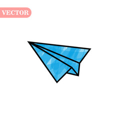 Blue and black linear paper plane icon on a white vector