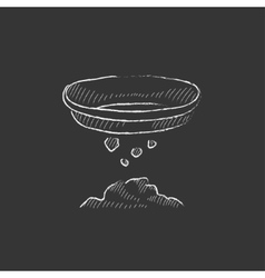Bowl for sifting gold Drawn in chalk icon vector