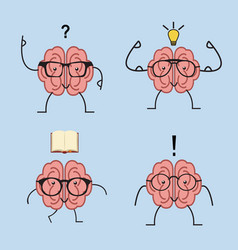 brain cartoon set with glasses vector image