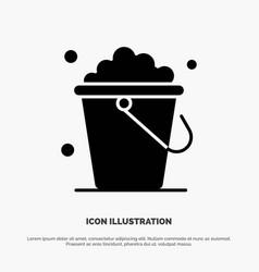 Bucket cleaning floor home solid glyph icon vector