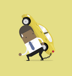 businessman carry his car debt with chained vector image