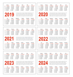 calendar for 2019 2020 2021 2022 2023 2024 vector image