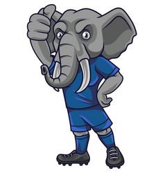 cartoon elephant soccer mascot showing thumb up vector image