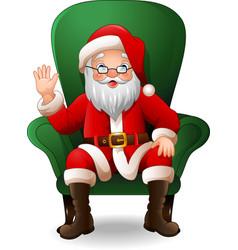 cartoon santa claus sitting on green arm chair vector image