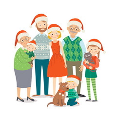 christmas family portrait big happy family in vector image