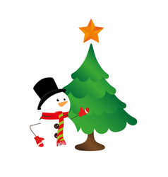 color silhouette with snowman and christmas tree vector image
