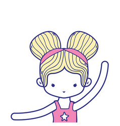 Colorful girl practice ballet with two buns hair vector
