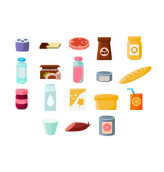 Common everyday grocery products sett food and vector