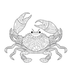 Crab coloring book for adults vector