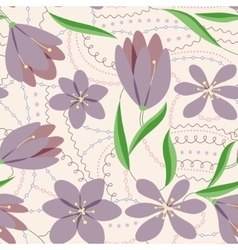 Crocuses seamless pattern lilac vintage vector image