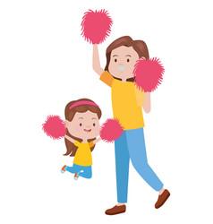 Cute mother and daughter cheerleaders vector