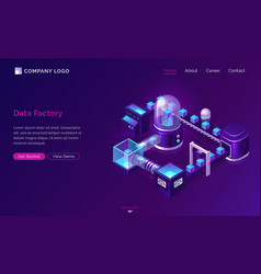 data processing factory isometric technology vector image