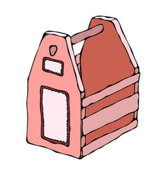 Decorative pink wooden box with holes and handle vector