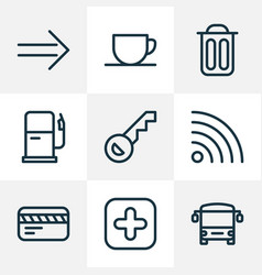 direction icons line style set with gas station vector image