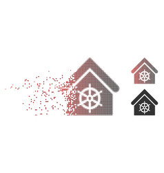 dissolved pixel halftone steering wheel house icon vector image