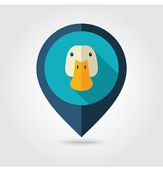 Duck flat pin map icon Animal head vector