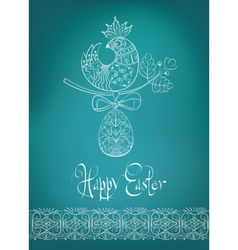 Easter card ethnic chick hand-drawn typography vector image