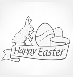 Easter rabbits white vector