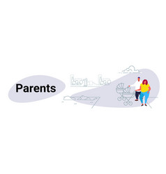 fat obese couple with bain pram walking city vector image
