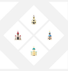 Flat icon church set of religious traditional vector