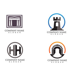 fortress logo and symbols vector image