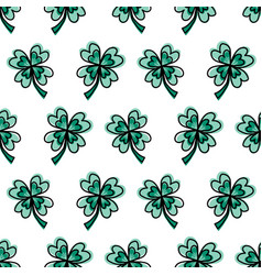 four-leaf clover leaves on white seamless vector image
