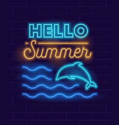 glowing neon sign or logo summertime party vector image