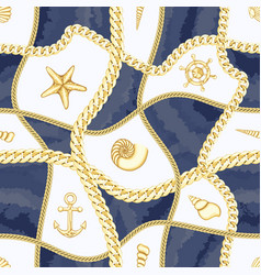 Golden chains and seashell check seamless pattern vector