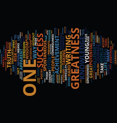 Greatness text background word cloud concept vector