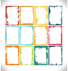 grunge frames collection color palette vector image