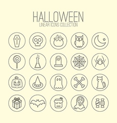 Halloween linear icons vector