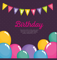 happy birthday celebration card with balloons air vector image