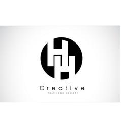 hh letter logo design inside a black circle vector image