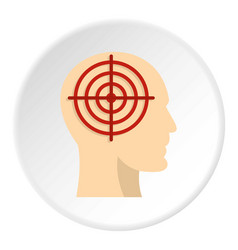 Human head with red crosshair icon circle vector