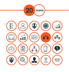 human icons set collection of increase manager vector image