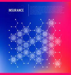 Insurance concept in honeycombs vector