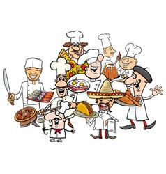 International cuisine chefs group cartoon vector