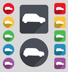 Jeep icon sign a set of 12 colored buttons and a vector