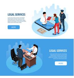 Lawyer isometric horizontal banners vector