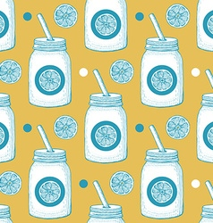 Lemonade in hipster jar with straw vector image