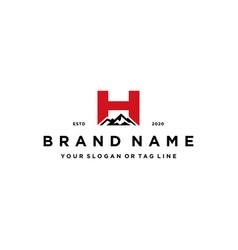 Letter h mountain logo design concept vector