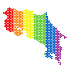 lgbt spectrum dotted costa rica map vector image