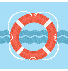 Lifebuoy with rope isolated on vector