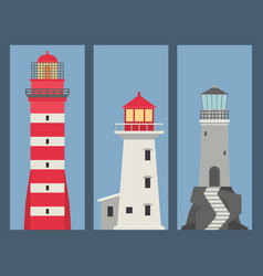 lighthouses banner flat searchlight towers vector image