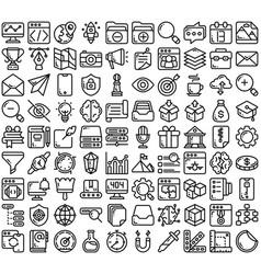 Line think creative icon set vector